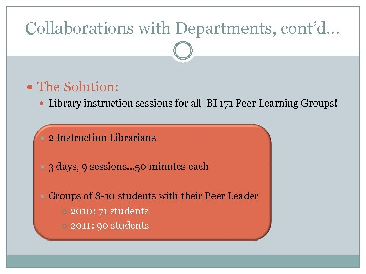 Collaborations with Departments, cont'd… The Solution: Library instruction sessions for all BI 171 Peer
