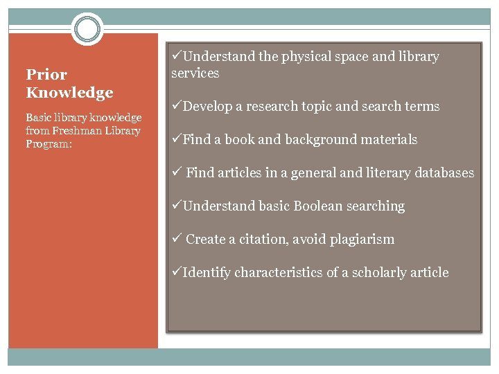 Prior Knowledge Basic library knowledge from Freshman Library Program: üUnderstand the physical space and