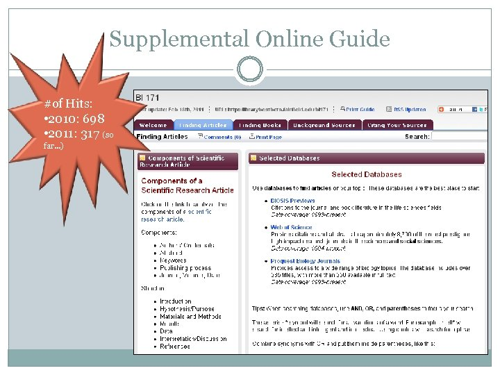 Supplemental Online Guide #of Hits: • 2010: 698 • 2011: 317 (so far…)