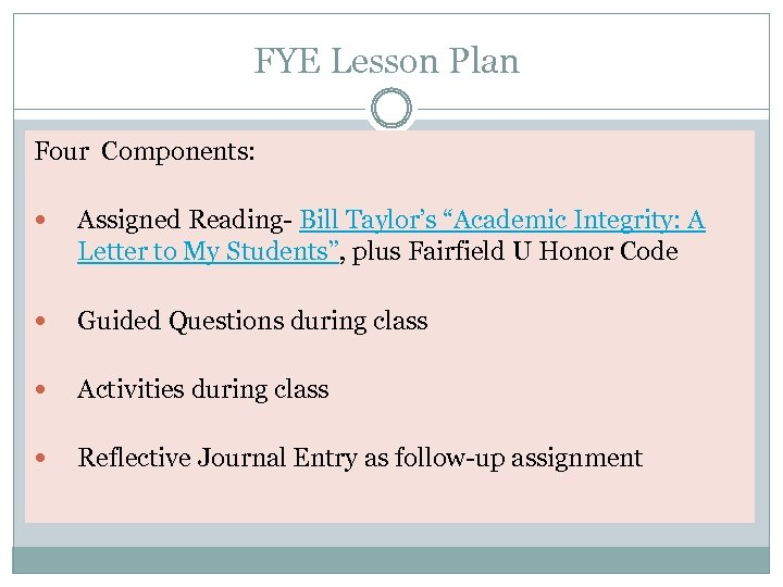 "FYE Lesson Plan Four Components: Assigned Reading- Bill Taylor's ""Academic Integrity: A Letter to"