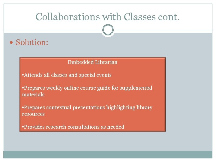 Collaborations with Classes cont. Solution: Embedded Librarian • Attends all classes and special events