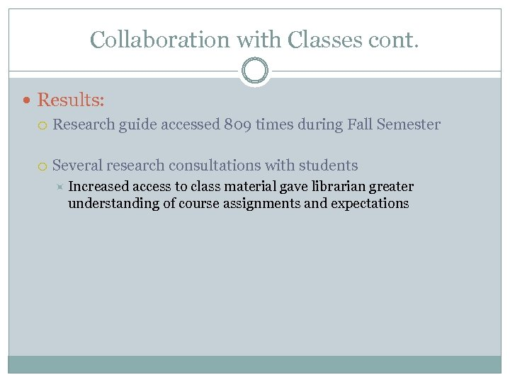 Collaboration with Classes cont. Results: Research guide accessed 809 times during Fall Semester Several