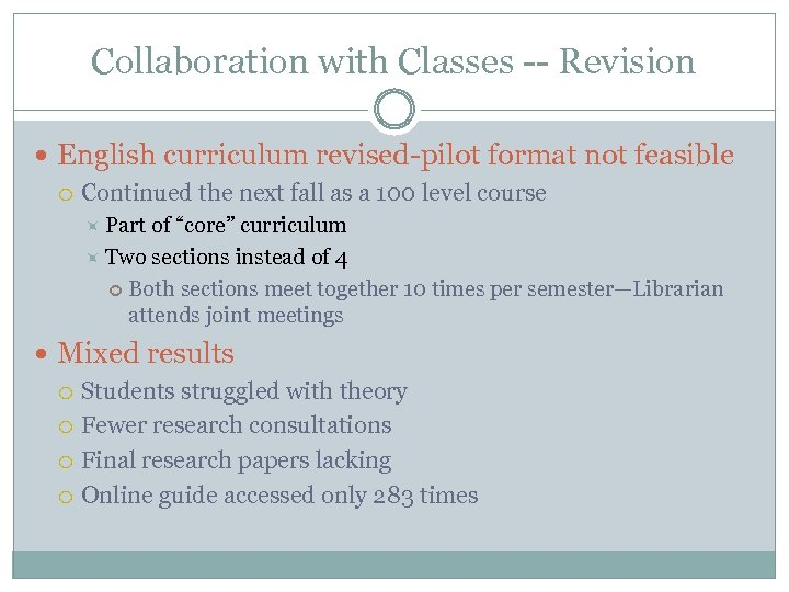 Collaboration with Classes -- Revision English curriculum revised-pilot format not feasible Continued the next