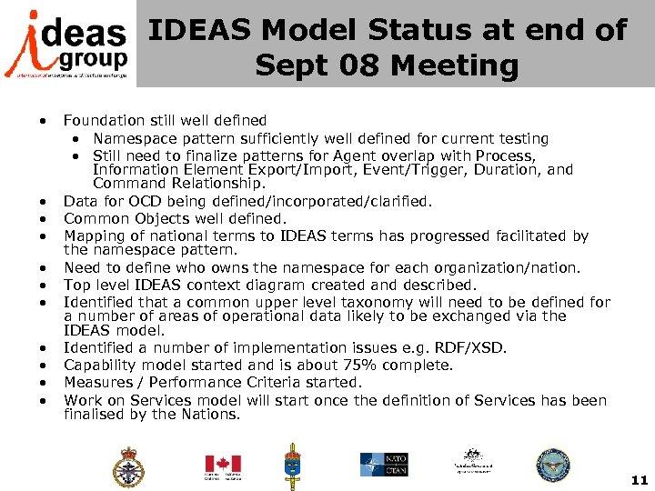 IDEAS Model Status at end of Sept 08 Meeting • • • Foundation still
