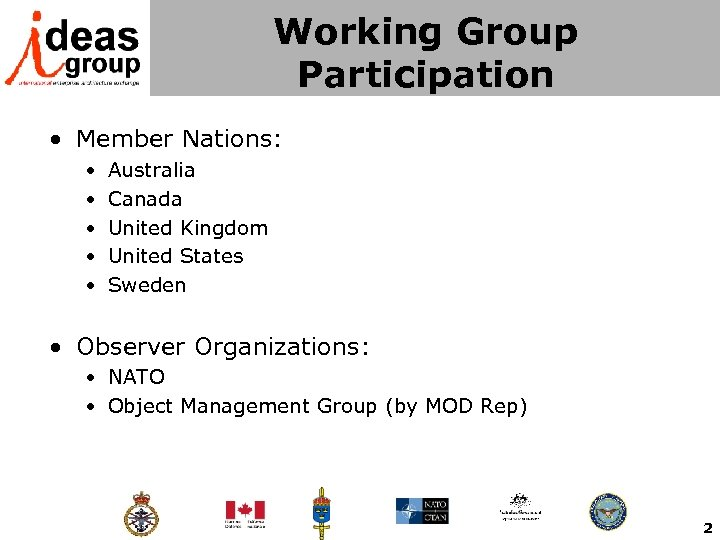 Working Group Participation • Member Nations: • • • Australia Canada United Kingdom United