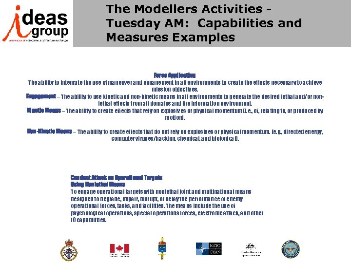 The Modellers Activities - Tuesday AM: Capabilities and Measures Examples Force Application The ability