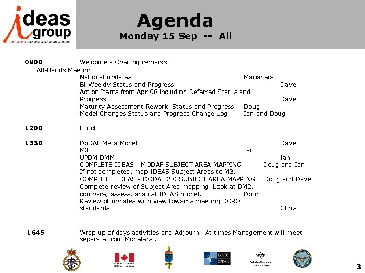 Agenda Monday 15 Sep -- All 0900 Welcome - Opening remarks All-Hands Meeting: National
