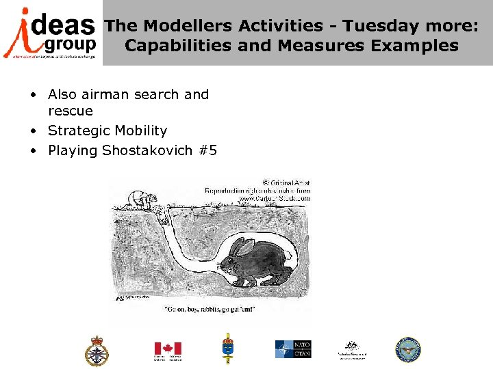 The Modellers Activities - Tuesday more: Capabilities and Measures Examples • Also airman search