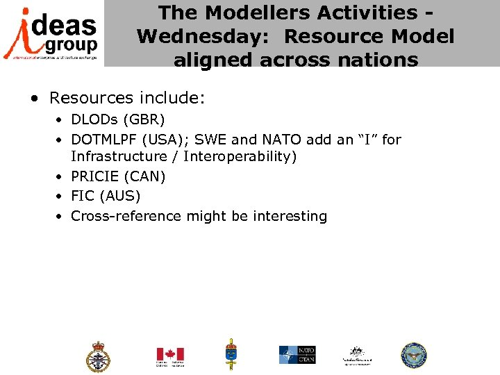 The Modellers Activities - Wednesday: Resource Model aligned across nations • Resources include: •