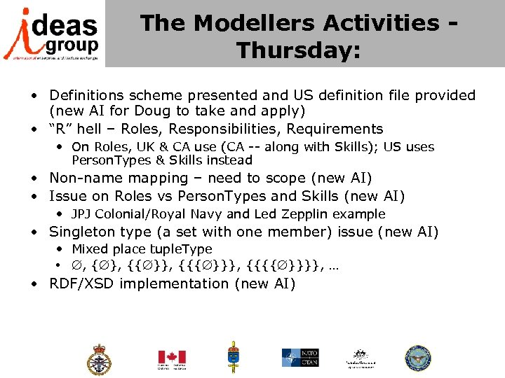 The Modellers Activities - Thursday: • Definitions scheme presented and US definition file provided