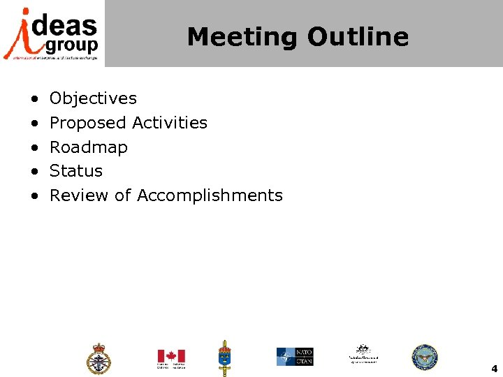 Meeting Outline • • • Objectives Proposed Activities Roadmap Status Review of Accomplishments 4