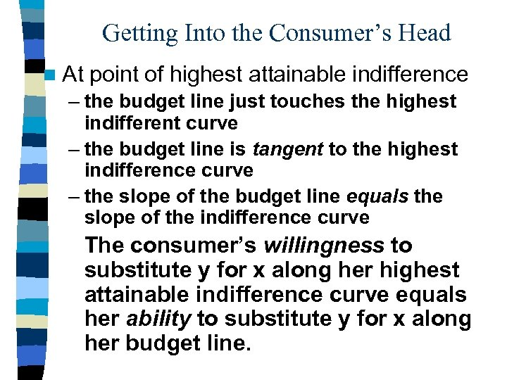 Getting Into the Consumer's Head n At point of highest attainable indifference – the