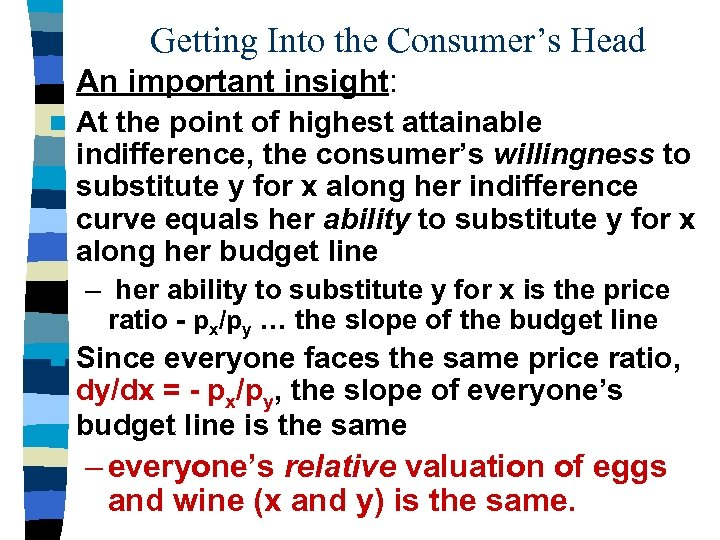 Getting Into the Consumer's Head An important insight: n At the point of highest