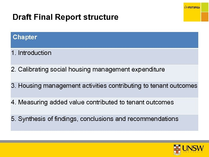 Draft Final Report structure Chapter 1. Introduction 2. Calibrating social housing management expenditure 3.