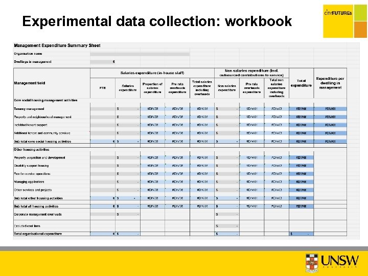 Experimental data collection: workbook C O N ID F N E IA T L