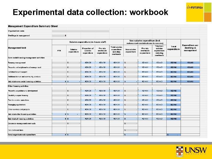 Experimental data collection: workbook C O N ID F N E IA T L