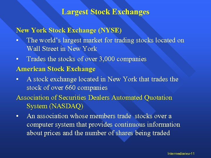 Largest Stock Exchanges New York Stock Exchange (NYSE) • The world's largest market for