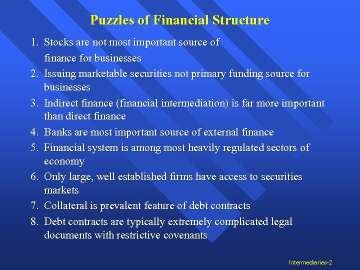 Puzzles of Financial Structure 1. Stocks are not most important source of finance for