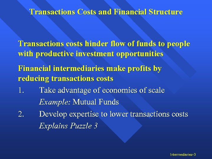 Transactions Costs and Financial Structure Transactions costs hinder flow of funds to people with