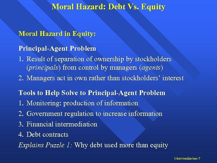 Moral Hazard: Debt Vs. Equity Moral Hazard in Equity: Principal-Agent Problem 1. Result of