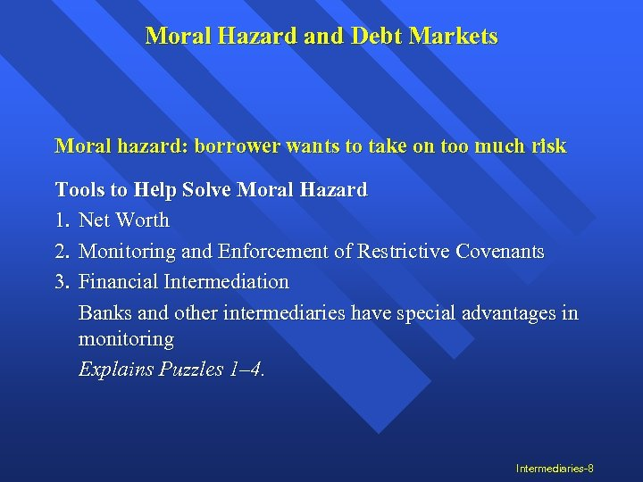 Moral Hazard and Debt Markets Moral hazard: borrower wants to take on too much