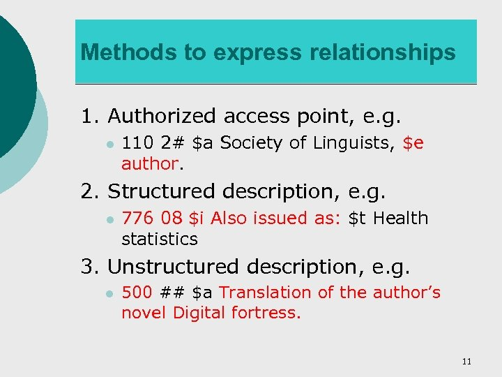Methods to express relationships 1. Authorized access point, e. g. l 110 2# $a