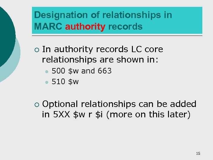 Designation of relationships in MARC authority records ¡ In authority records LC core relationships