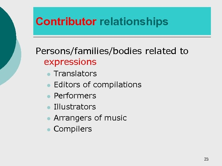 Contributor relationships Persons/families/bodies related to expressions l l l Translators Editors of compilations Performers