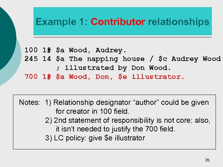 Example 1: Contributor relationships 100 1# $a Wood, Audrey. 245 14 $a The napping