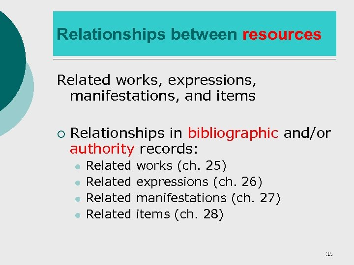 Relationships between resources Related works, expressions, manifestations, and items ¡ Relationships in bibliographic and/or