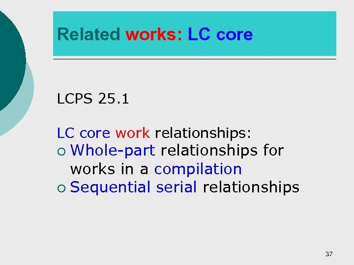 Related works: LC core LCPS 25. 1 LC core work relationships: Whole-part relationships for