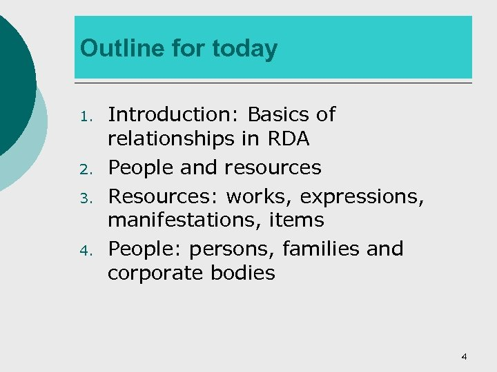 Outline for today 1. 2. 3. 4. Introduction: Basics of relationships in RDA People