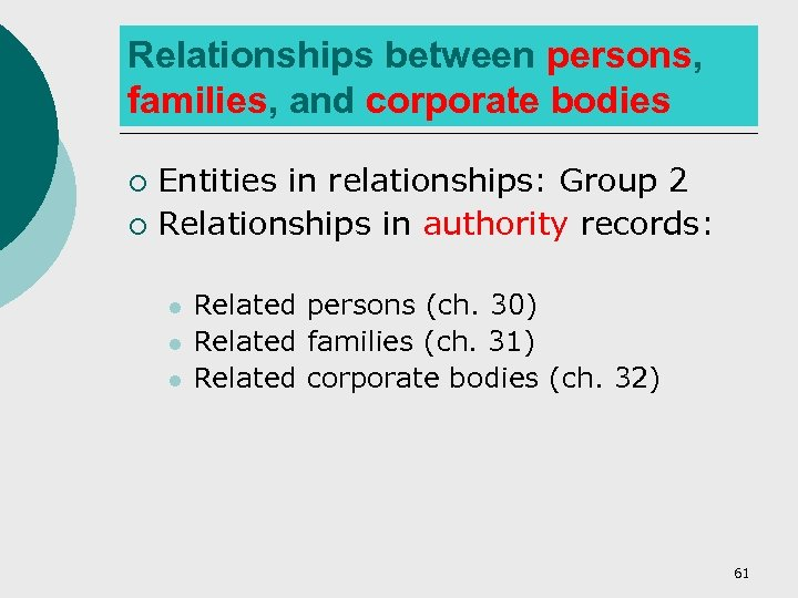 Relationships between persons, families, and corporate bodies Entities in relationships: Group 2 ¡ Relationships