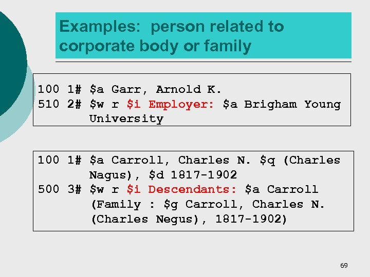 Examples: person related to corporate body or family 100 1# $a Garr, Arnold K.