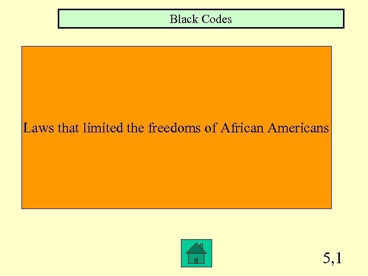 Black Codes Laws that limited the freedoms of African Americans 5, 1