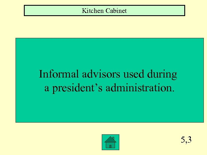 Kitchen Cabinet Informal advisors used during a president's administration. 5, 3