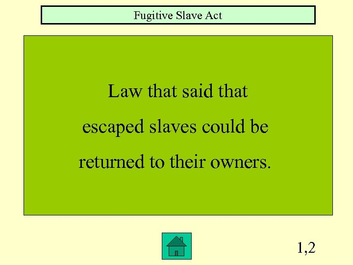 Fugitive Slave Act Law that said that escaped slaves could be returned to their