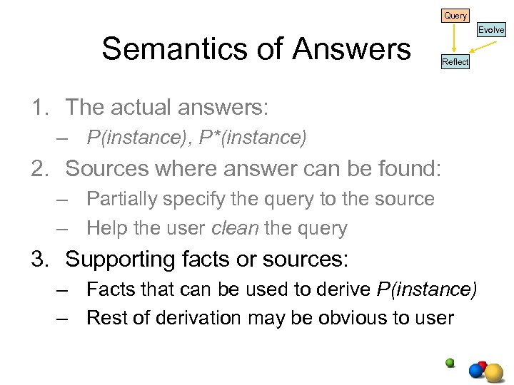 Query Semantics of Answers Evolve Reflect 1. The actual answers: – P(instance), P*(instance) 2.