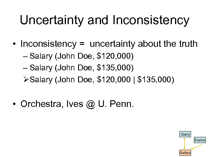 Uncertainty and Inconsistency • Inconsistency = uncertainty about the truth – Salary (John Doe,