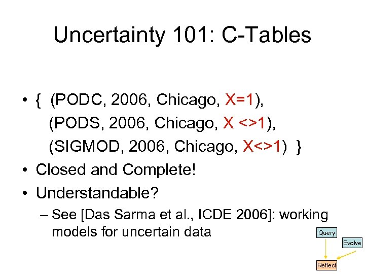 Uncertainty 101: C-Tables • { (PODC, 2006, Chicago, X=1), (PODS, 2006, Chicago, X <>1),