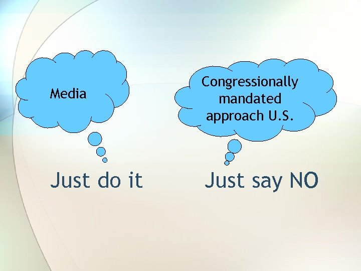 Media Congressionally mandated approach U. S. Just do it Just say NO