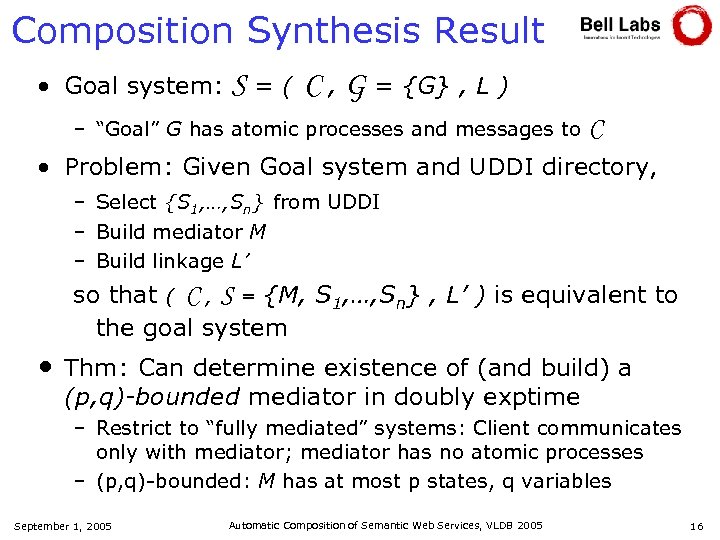 Composition Synthesis Result • Goal system: S = ( C , G = {G}