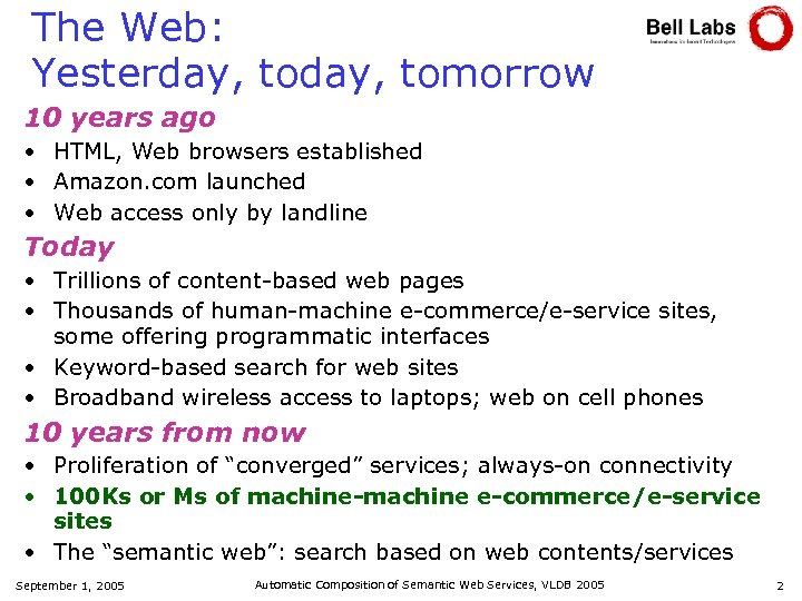 The Web: Yesterday, tomorrow 10 years ago • HTML, Web browsers established • Amazon.