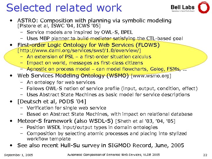 Selected related work • ASTRO: Composition with planning via symbolic modeling [Pistore et al,