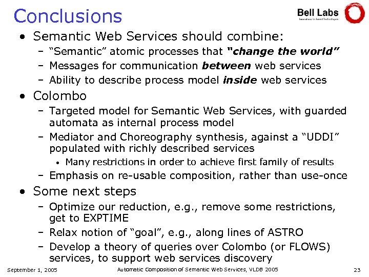 """Conclusions • Semantic Web Services should combine: – """"Semantic"""" atomic processes that """"change the"""
