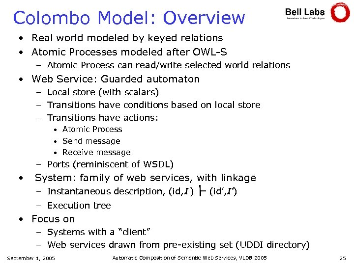 Colombo Model: Overview • Real world modeled by keyed relations • Atomic Processes modeled
