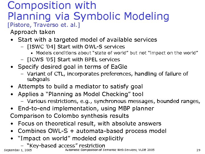Composition with Planning via Symbolic Modeling [Pistore, Traverso et. al. ] Approach taken •