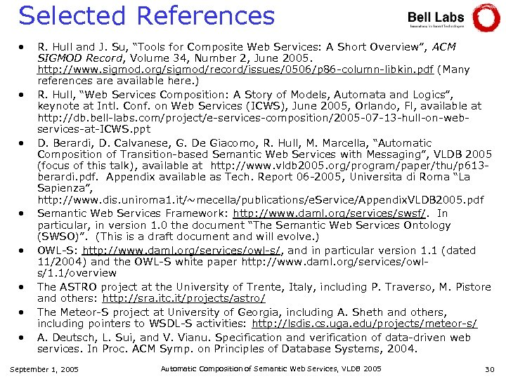 "Selected References • • R. Hull and J. Su, ""Tools for Composite Web Services:"