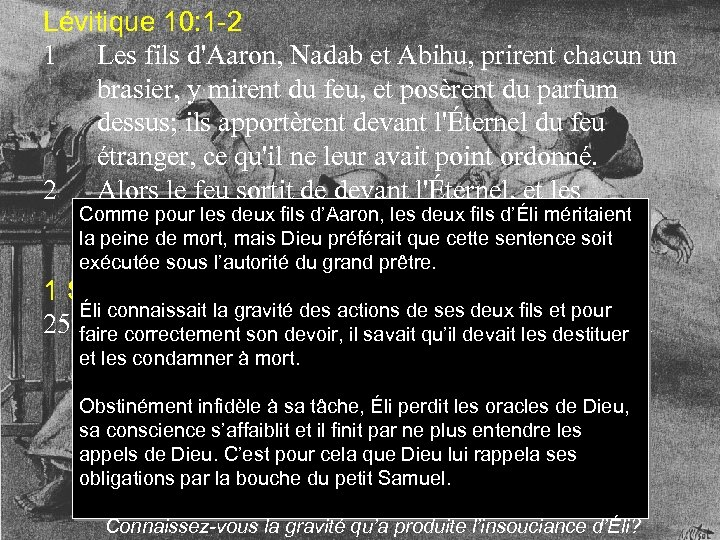 Lévitique 10: 1 -2 1 Les fils d'Aaron, Nadab et Abihu, prirent chacun un