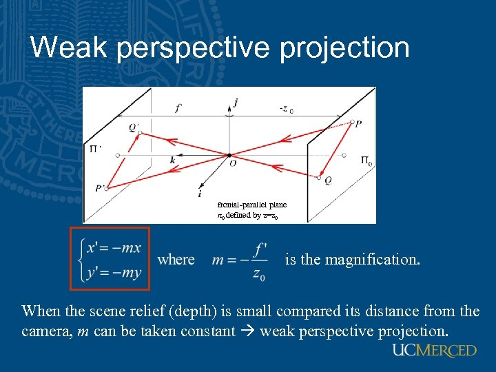 Weak perspective projection frontal-parallel plane π0 defined by z=z 0 is the magnification. When